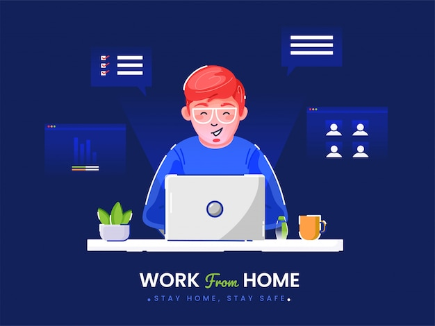 Lavorare da casa in quarantena. illustrazioni di lavoro a casa concetto. persone a casa.