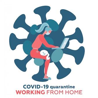 Lavorare da casa nello scoppio del virus covid-19, una società di distanziamento sociale consente ai dipendenti di lavorare a casa per prevenire l'infezione da virus, giovane donna che lavora con un gatto sulle ginocchia. stampa isolata a forma di coronavirus