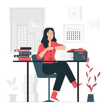 Lavorare fino a tardi concetto illustrazione