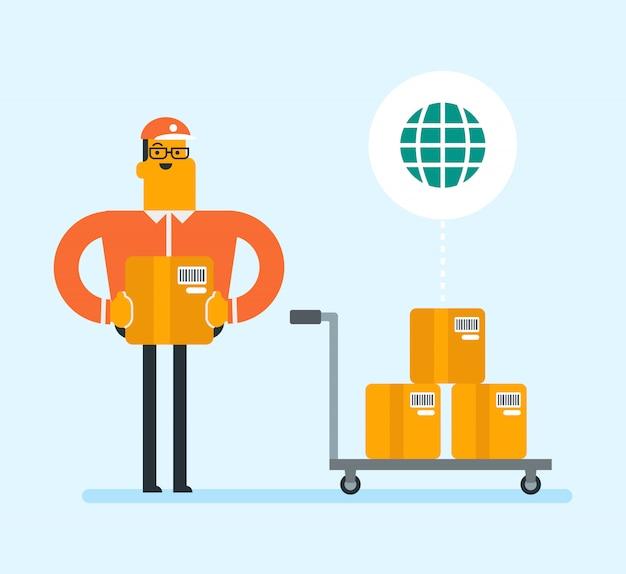 Lavoratore aziendale di servizio di consegna internazionale.