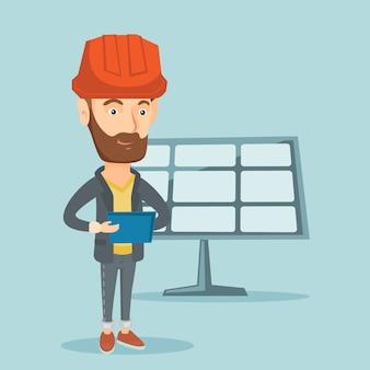 Lavoratore caucasico della centrale elettrica solare.