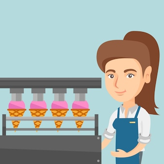 Lavoratore caucasico della fabbrica che produce gelato.