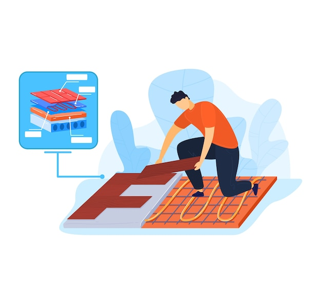 Lavoratore che installa la costruzione termica del pavimento, riscalda la temperatura del pavimento con tubo di plastica, illustrazione. industria della lavorazione dei tubi, installazione domestica dell'interno. materiale di riscaldamento a pavimento.