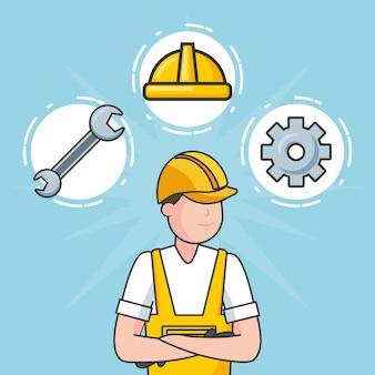 Lavoratore con oggetti da costruzione, illustrazione