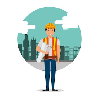 Lavoratore del costruttore con i modelli sulla priorità bassa della costruzione