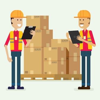 Lavoratore del magazzino di carattere che controlla le merci. illustrazione vettoriale