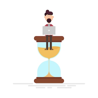 Lavoratore dell'uomo che si siede su un'illustrazione della clessidra