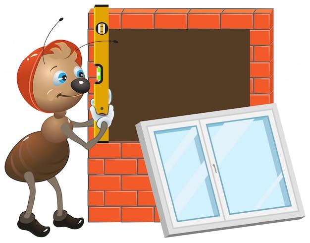 Lavoratore della formica che installa finestra di plastica