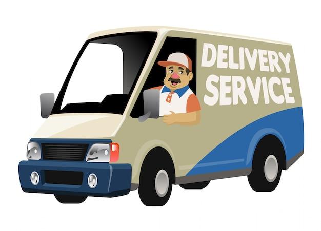 Lavoratore di servizio di consegna del fumetto che guida il furgone del camion di consegna
