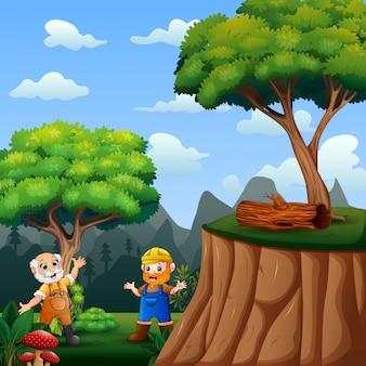 Lavoratore due all'illustrazione della foresta