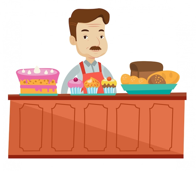 Lavoratore in piedi dietro il bancone del forno.