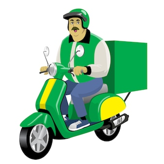 Lavoratore maschio di consegna adulto che guida il motorino d'annata