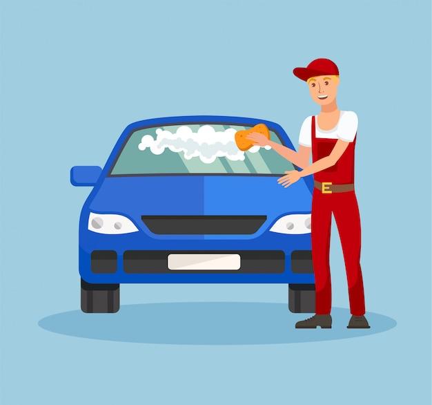 Lavoratore nell'illustrazione di vettore di servizio dell'autolavaggio