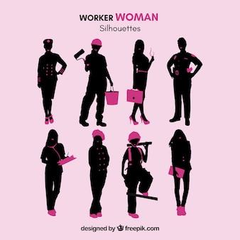 Lavoratore sagome di donna