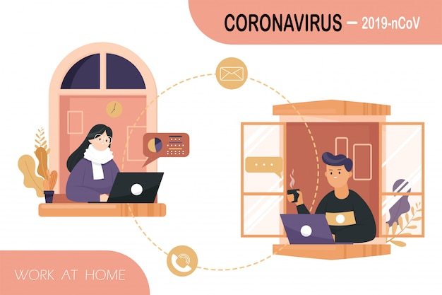Lavoratori a casa per prevenire il virus covid-19.