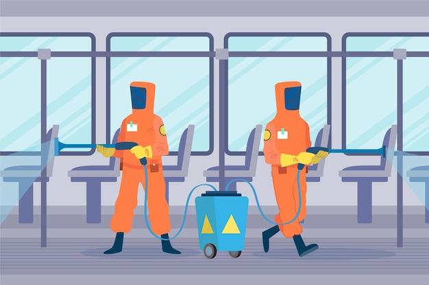 Lavoratori che forniscono servizi di pulizia negli spazi pubblici