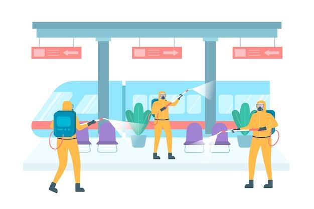 Lavoratori che puliscono gli spazi pubblici