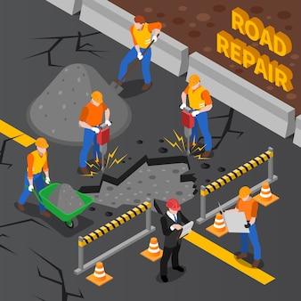 Lavoratori che riparano l'illustrazione isometrica della strada