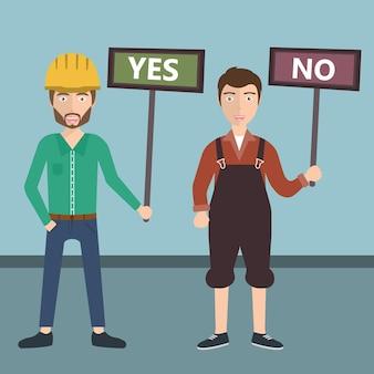 Lavoratori che tengono sì e nessun segno per il voto