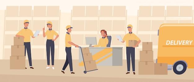 Lavoratori con diversi servizi di consegna. servizio di consegna di pacchi postali.