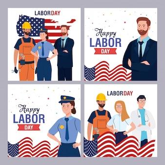 Lavoratori con il disegno di vettore delle bandiere degli sua