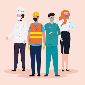 Lavoratori del gruppo che indossano maschera medica contro la pandemia