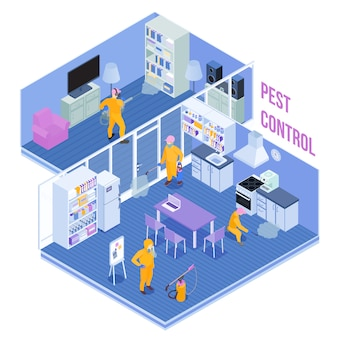 Lavoratori del servizio di controllo dei parassiti durante l'elaborazione sanitaria dell'illustrazione isometrica di vettore del salone e della cucina