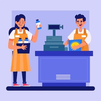 Lavoratori del supermercato che fanno il loro lavoro