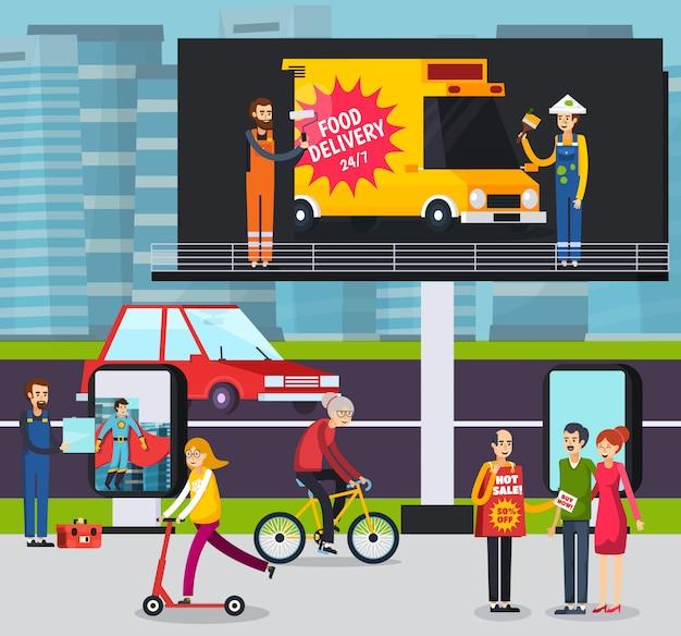 Lavoratori dell'agenzia pubblicitaria che dispongono il manifesto dell'annuncio sul grande tabellone per le affissioni all'aperto nell'illustrazione ortogonale della strada affollata della città