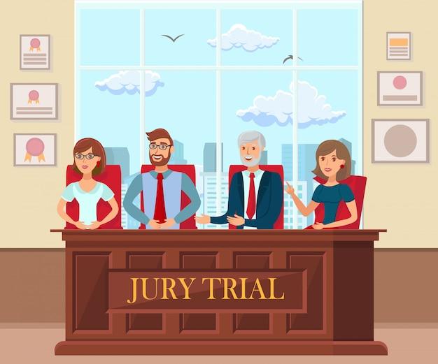 Lavoratori della prova della giuria in tribunale