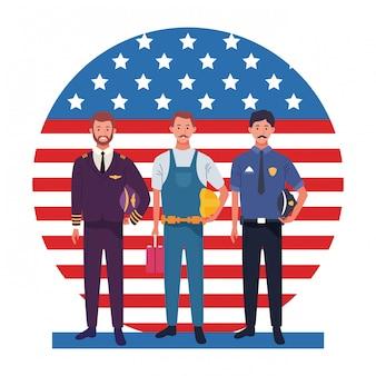 Lavoratori di professionisti di celebrazione nazionale di occupazione di occupazione di festa del lavoro nella parte anteriore illustrazione della bandiera degli stati uniti d'america