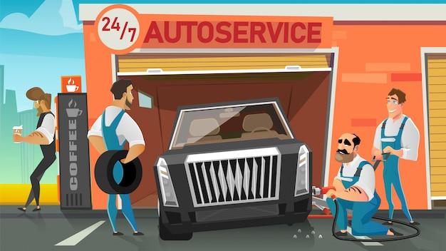 Lavoratori di servizio dell'automobile che sostituiscono il vettore del fumetto della ruota
