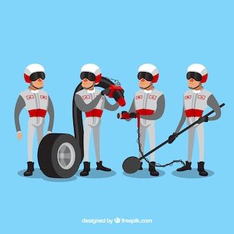 Lavoratori disegnati a mano con formula pit stop
