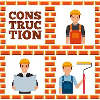 Lavoratori edili insieme lettering