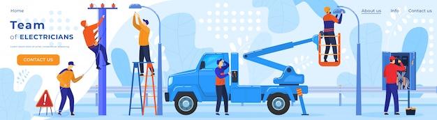 Lavoratori elettrici, elettricità sulla linea elettrica riparatore, illustrazione del modello della pagina web di professione dell'elettricista.