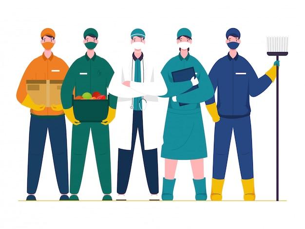Lavoratori essenziali che lavorano durante l'epidemia di coronavirus (covid-19) come medico, infermiere, spazzino, ragazzo delle consegne su sfondo bianco.