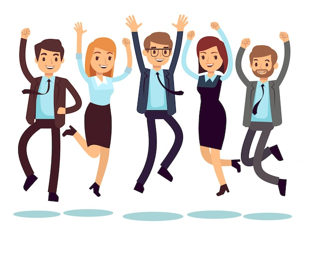 Lavoratori felici e sorridenti, gente di affari che salta i caratteri piani di vettore