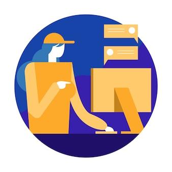 Lavoratrice che chiacchiera e che controlla ordine sul computer.
