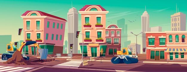 Lavori stradali con macchine edili