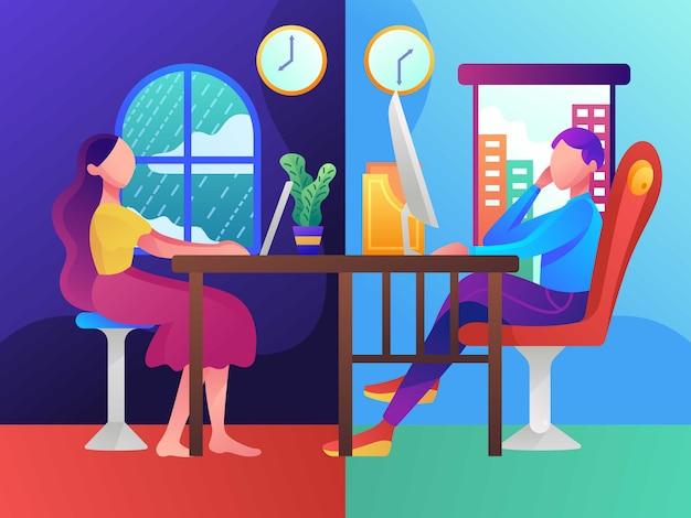 Lavoro a distanza, lavoro part-time, illustrazione piatta vettoriale