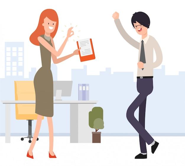 Lavoro approvato donna d'affari per uomo d'affari.