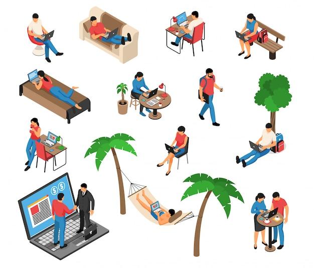 Lavoro creativo a distanza delle free lance sotto l'albero nella casa dell'amaca sul sofà con l'illustrazione dell'insieme isometrico del computer portatile
