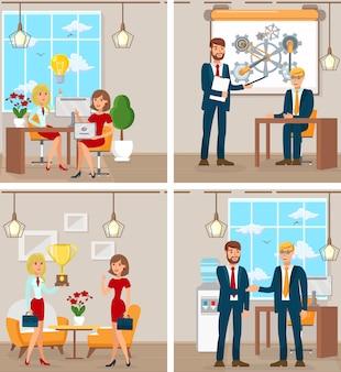 Lavoro d'ufficio e sviluppo startup. vettore.