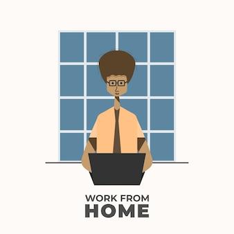 Lavoro dal concetto domestico dell'illustrazione. libero professionista che lavora al computer portatile a casa