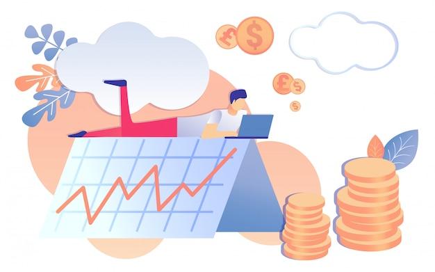 Lavoro dell'uomo sulla crescita del grafico del reddito finanziario del taccuino