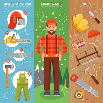 Lavoro di lumberjack vertical banners set