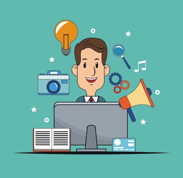 Lavoro di pubblicità digitale di marketing uomo