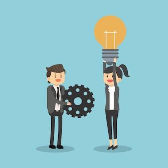 Lavoro di squadra aziendale con idee