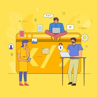 Lavoro di squadra che costruisce l'industria delle attività di codifica. icona di stile grafico linea cartoon. illustrare.