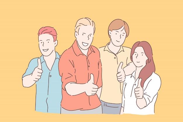 Lavoro di squadra, collaborazione, coworking. uomini d'affari sorridenti o squadra felice insieme guardano la telecamera. i giovani uomini d'affari e la donna di affari mostrano come firmano dentro l'ufficio. appartamento semplice